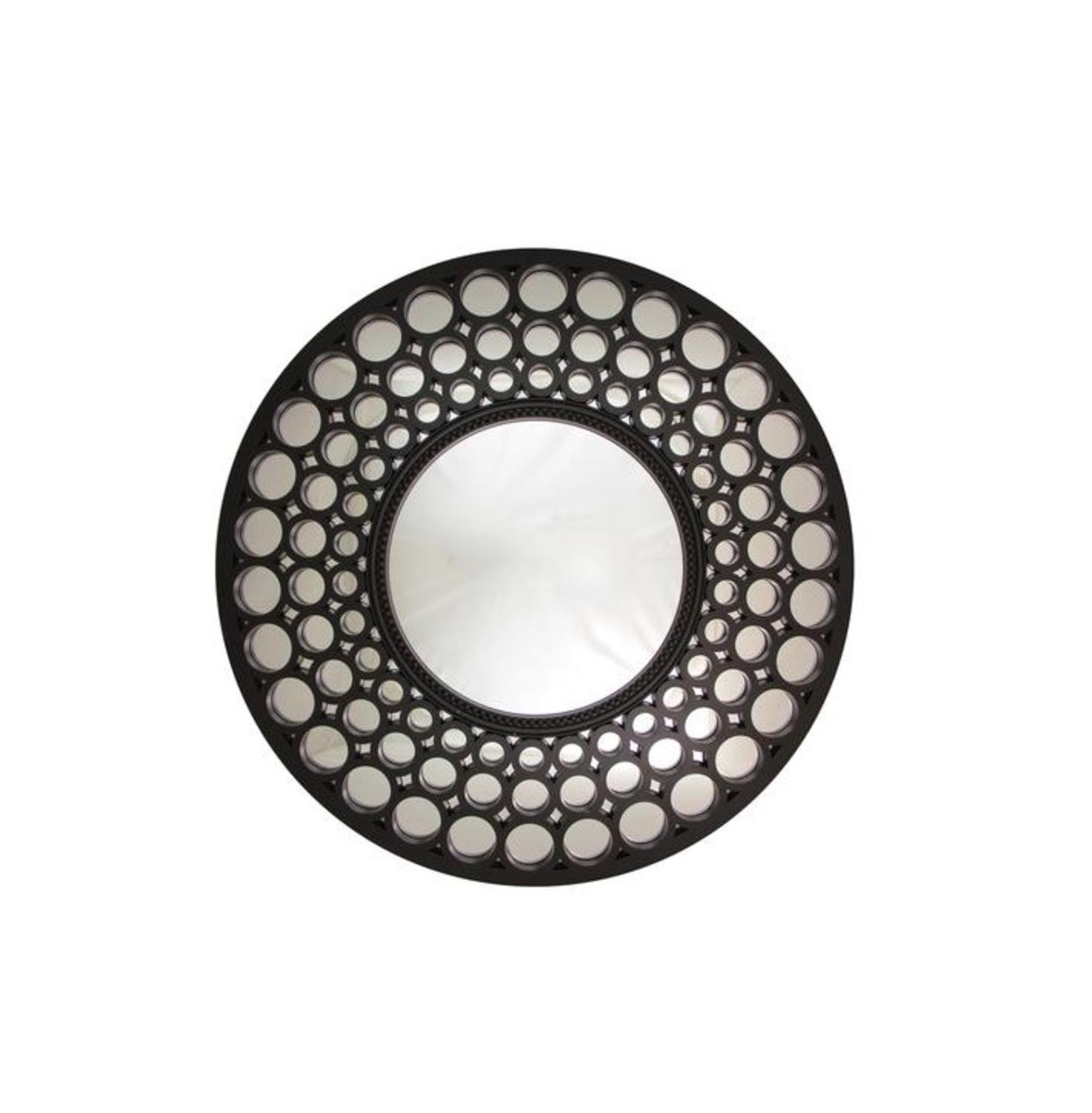 Northlight Glamorous Cascading Orbs Framed Round Wall Mirror, 24.75, White 24.75 NORTHLIGHT YW36893