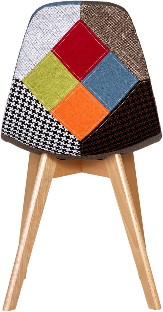 Chaise de Cuisine en Bois Bleu EGOONM Chaise de Salle /à Manger-Ensemble de 2 chaises de Salle /à Manger en Lin Patchwork Multicolore