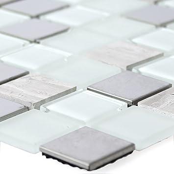 Selbstklebende Metall Stein Glas Mosaik Fliesen Weiss: Amazon.de ...