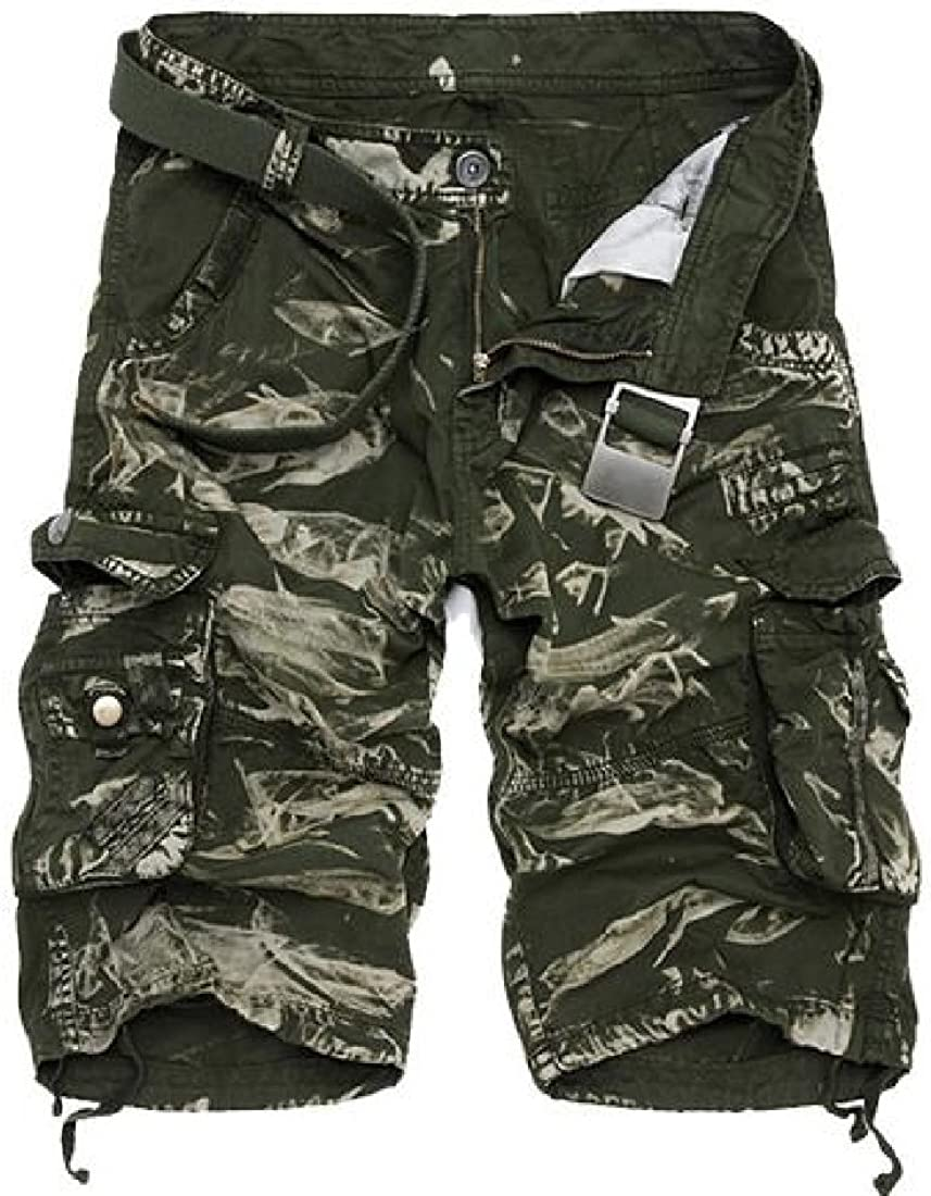 Abetteric Men Adjustable Athletic Fit-and-Flare Resort Quick Dry Boardshort Cargo Shorts