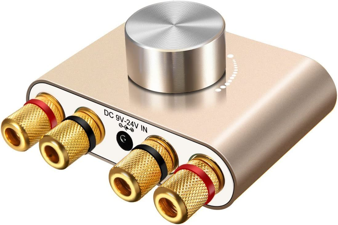 ELEGIANT Mini Bluetooth Amplificador HiFi Audio Estéreo Inalámbrico Potencia 50W * 2 de Señal Digital de Doble Canal de Aluminio con Adaptador de Alimentación