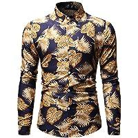 NIUQI Men's Fashion Hawaiian Style Leisure Printing Long-Sleeved Shirt Tops Blouse