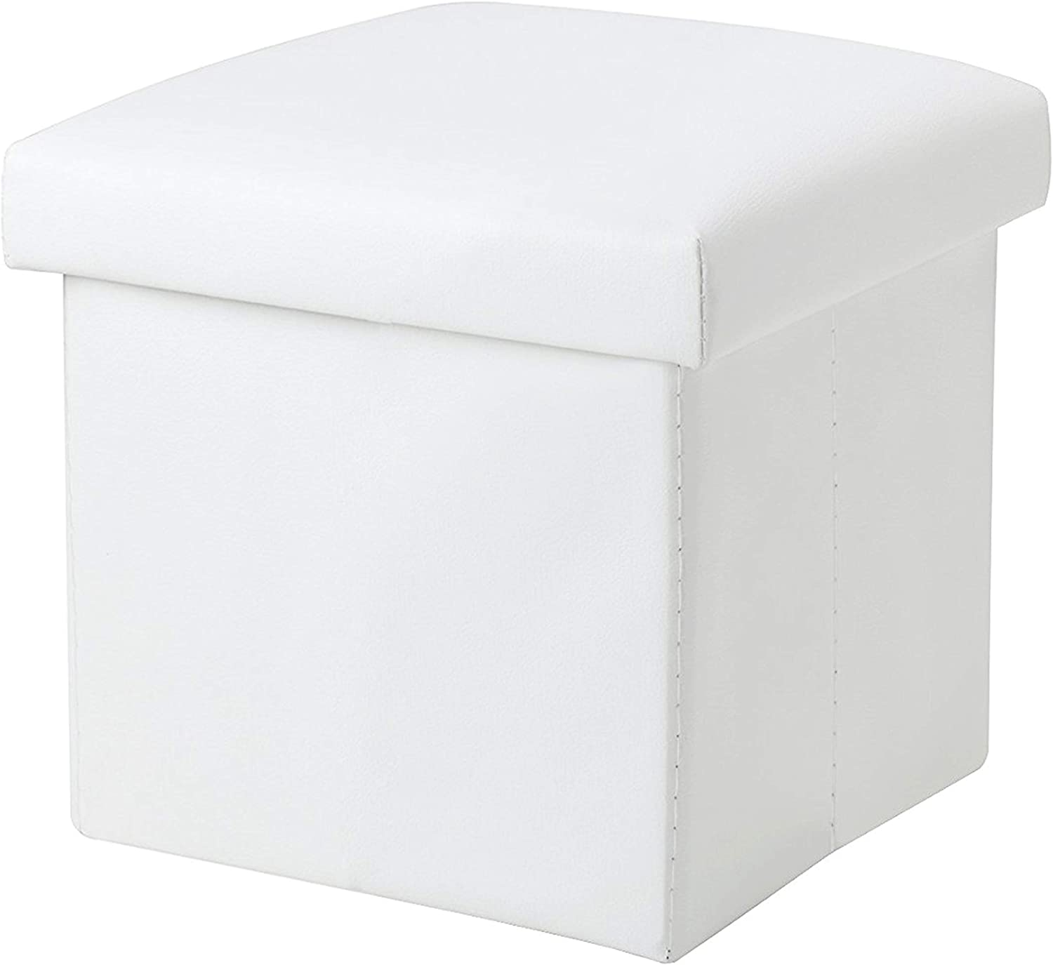 NISUNS OT01 Leather Folding Storage Ottoman Cube Footrest Seat, 12 X 12 X 12 Inches (White)