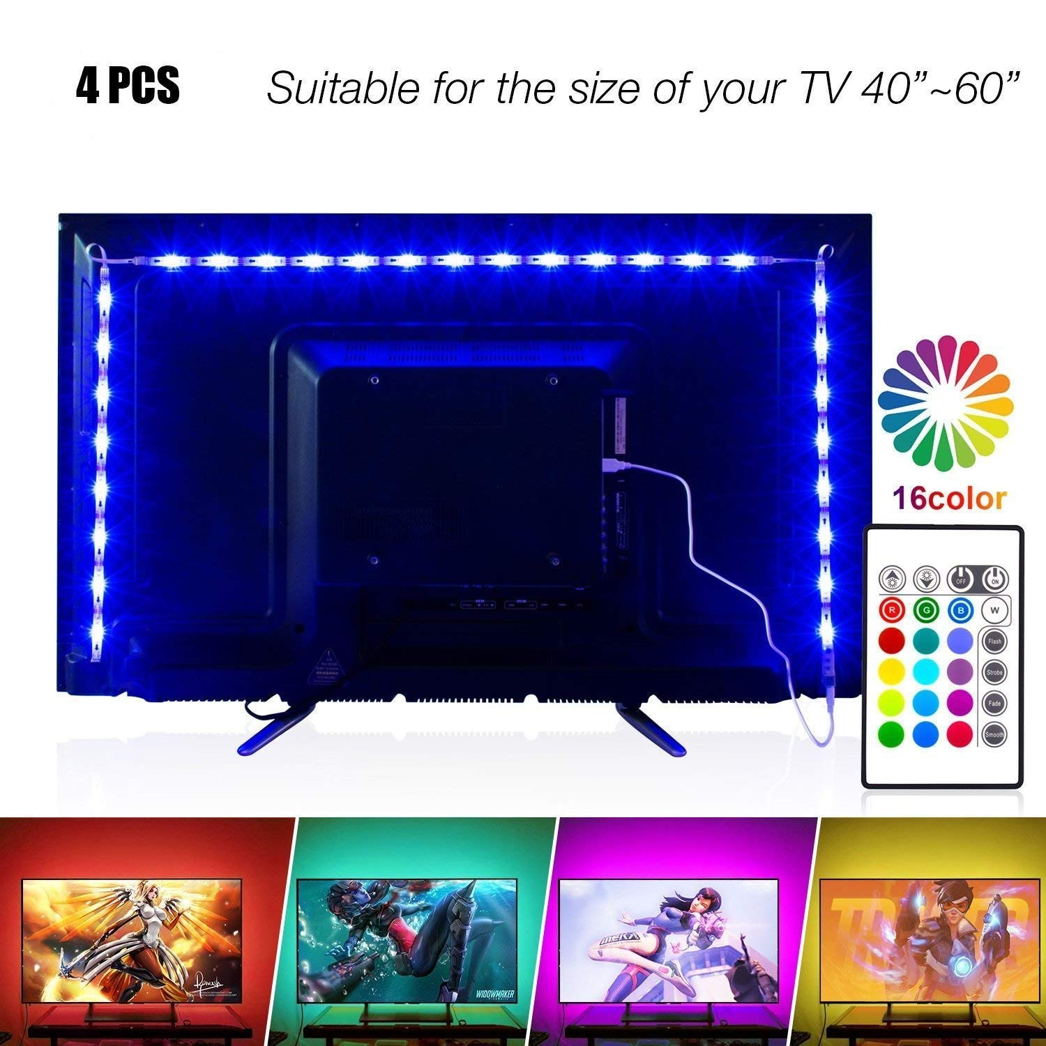 Led Strip Lights 6.56ft for 40-60in TV, PANGTON VILLA USB LED TV Backlight Kit with Remote - 16 Color Changing 5050 LEDs Bias Lighting for HDTV by PANGTON VILLA (Image #1)