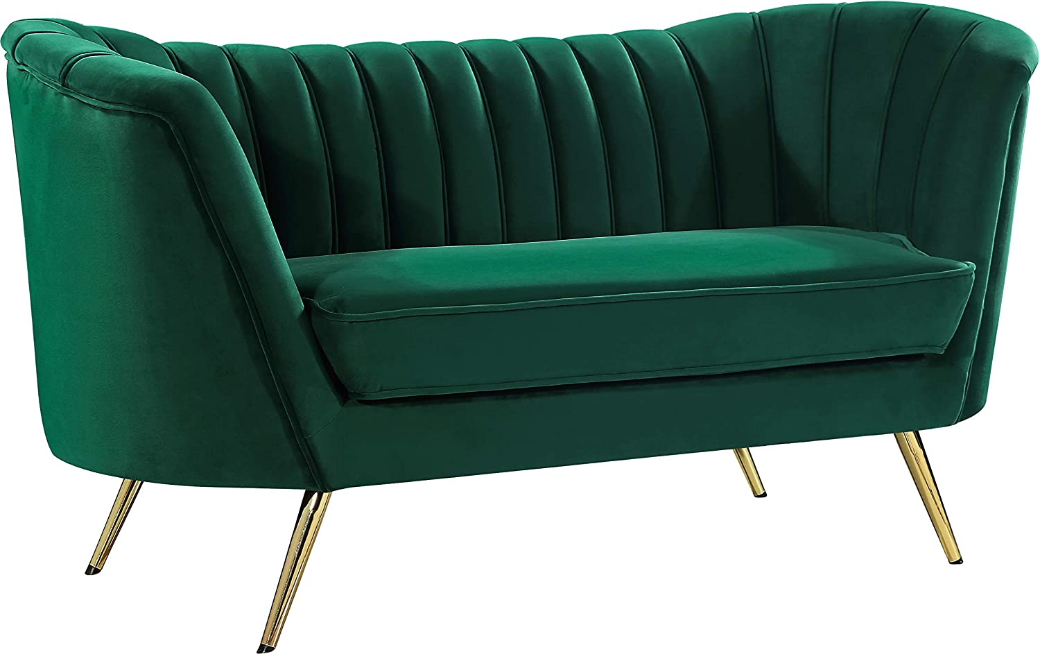 Meridian Furniture Margo Collection Modern   Contemporary Velvet Upholstered Loveseat with Deep Channel Tufting and Rich Gold Stainless Steel Legs, Green, 65