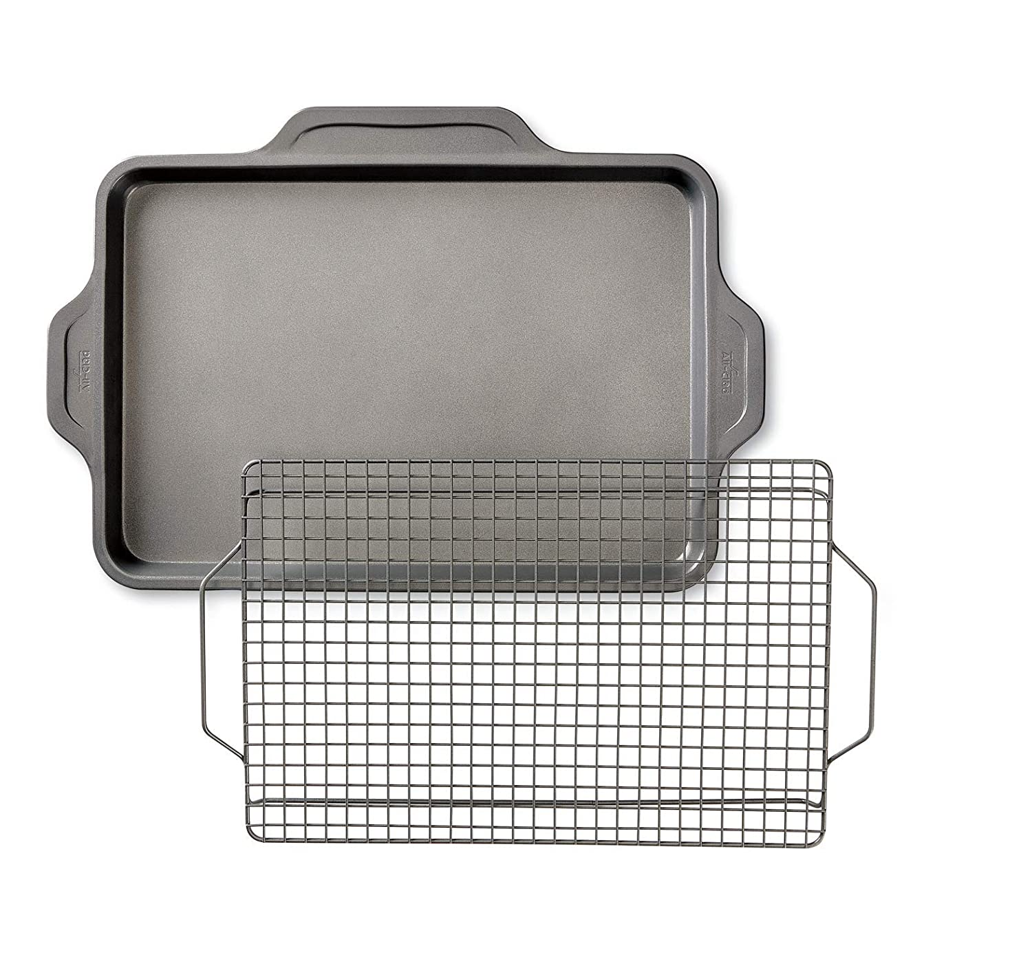 All-Clad J257S264 Pro-Release bakeware sheet with rack, 21 In x 14.25 In x 2 In, Grey