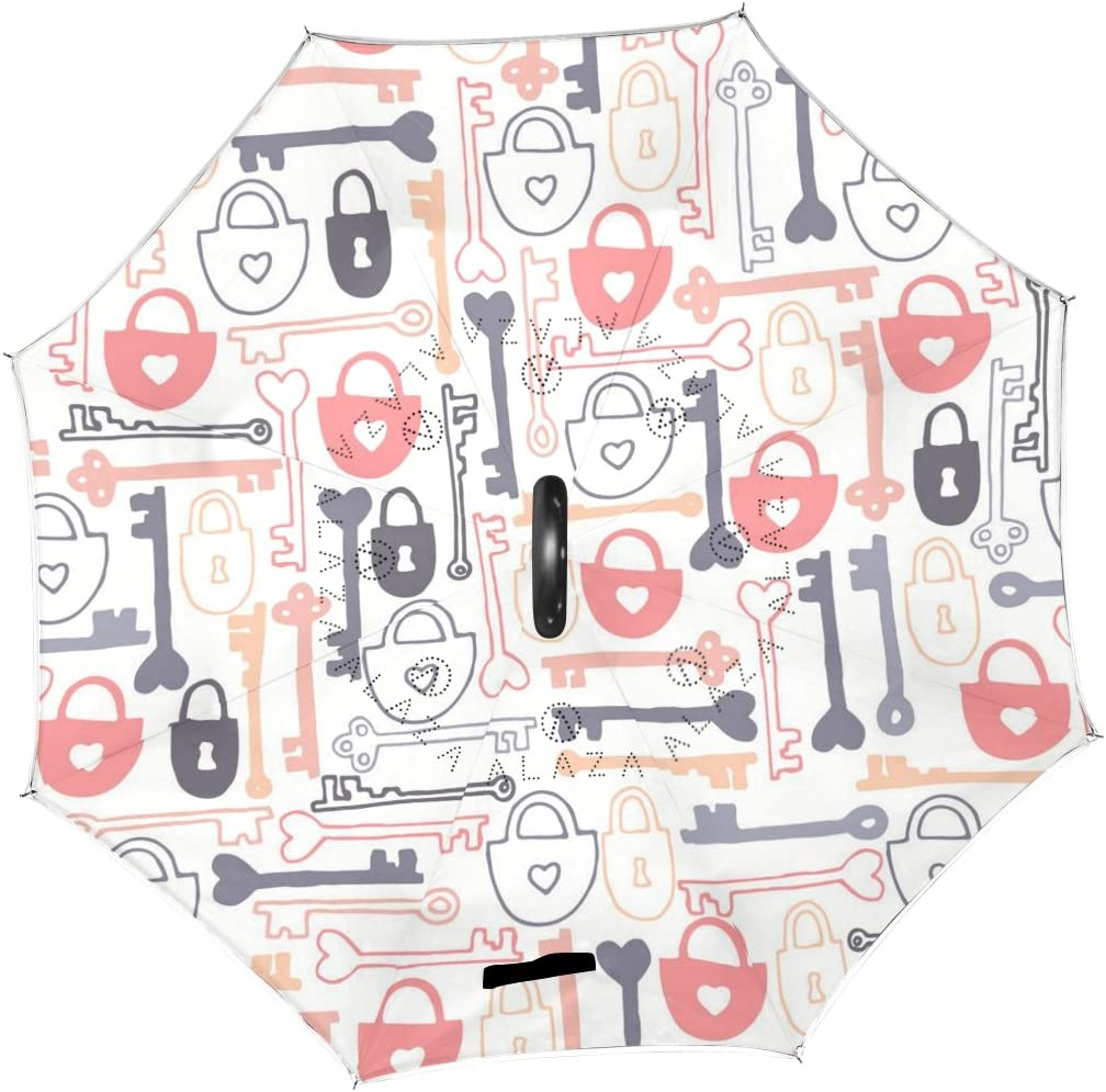 AHOMY Inverted Reverse Umbrella Lock Key Windproof for Car Rain Outdoor