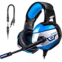 Tusbiko Gaming Headset with Microphone LED Lights (Blue/Black)