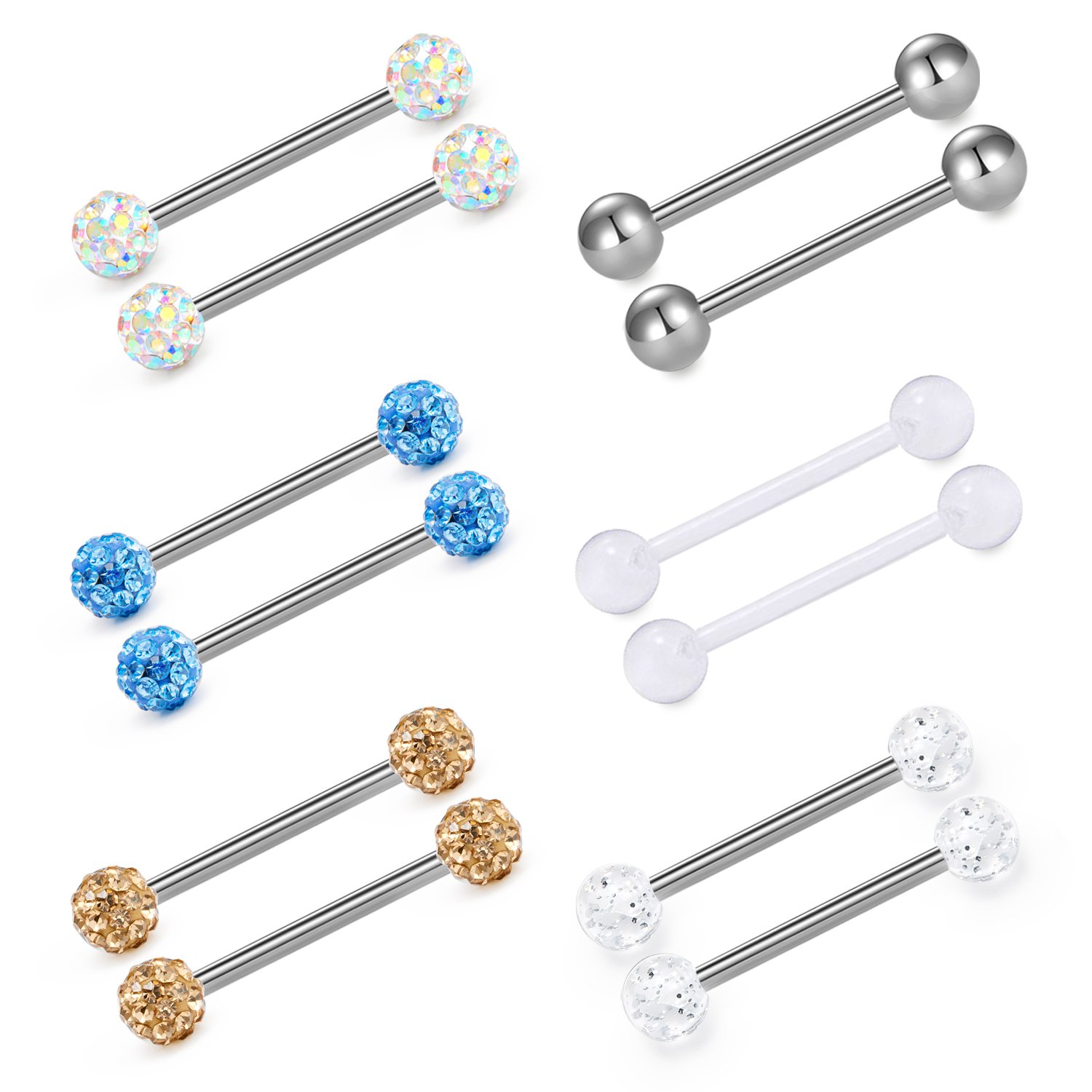 vcmart Tongue Rings Silver Surgical Steel Nipple Straight Barbells Piercing Jewelry 5/8in 14G