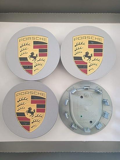 Oro CONCAVO per Cerchi in Lega Diametro Esterno 75MM Interno 57MM Boxster Cayman Cayenne Panamera 911 AUTOFORNITURE ITALIA Set 4 COPRIMOZZO COPPETTA BORCHIA Grigio