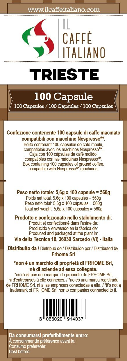 Il Caffè italiano 100 Nespresso Compatible Coffee Capsules - Coffee Trieste -100 X Coffee Capsules/Pods Espresso Compatible Nespresso - (20 Pack Of 5 For A ...