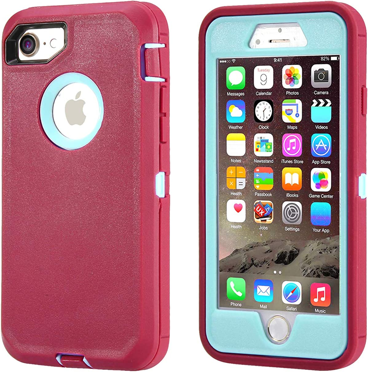 Annymall Case Compatible for iPhone 8 & iPhone 7, Heavy Duty [with Kickstand] [Built-in Screen Protector] Tough 4 in1 Rugged Shorkproof Cover for Apple iPhone 7 / iPhone 8