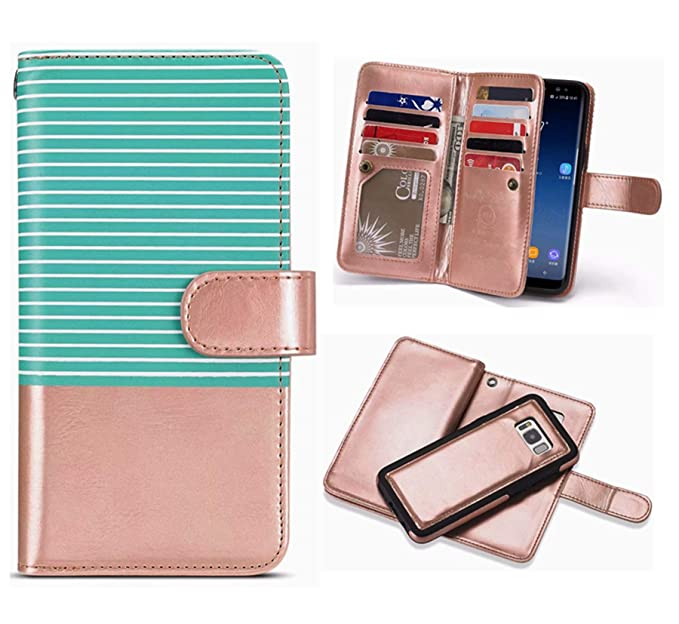 ebd0e535762 iPhone Xs MAX Detachable Wallet Case,Hynice Flip Straps Pattern Leather  Case with 9 Card Slots Holder Magnetic Strap Removable Cover Shell for  iPhone ...