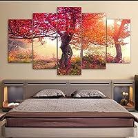 hhlwl HD Printed Wall Art Quadro Foto su tela 5 Pezzi Fiori ed erba degli alberi Paesaggi dipinti Poster Decorazioni per la casa-30x40/60/80cm-no frame