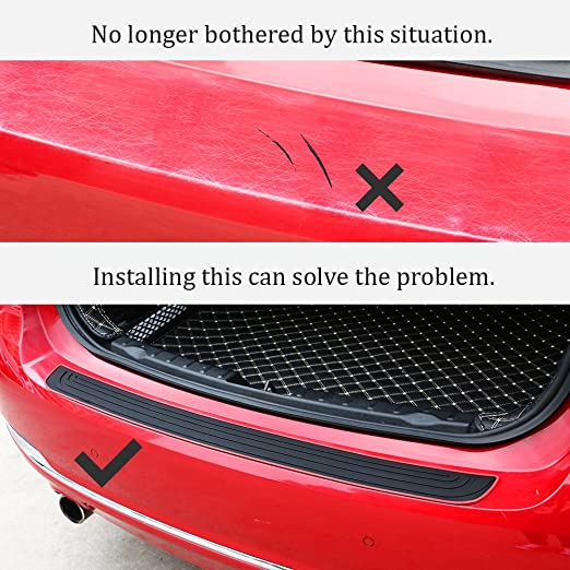 EverBrightt Trunk Rubber Protection Strip Rear Bumper Protector Cover Car Accessory with 3M Tape Black Red Set of 1