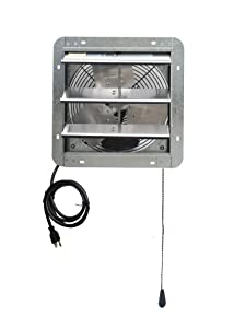 "Iliving ILG8SF12V-T 12 inch Shutter Exhaust Attic Garage Grow, Ventilation Fan with 3 Speed Thermostat 6 Foot Long 3 Plugs Cord, 12"" - Variable, Silver"