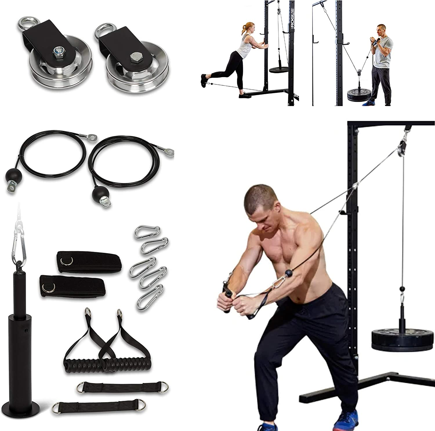 Goldboxllc Home Gym Pulley System - 200 LB LAT Pull Down Machine - Aluminum Pulleys - Steel Cables - Leg & Glute Toning - Triceps, Biceps Curl - Upgraded Loading Pin - Fast Assembly