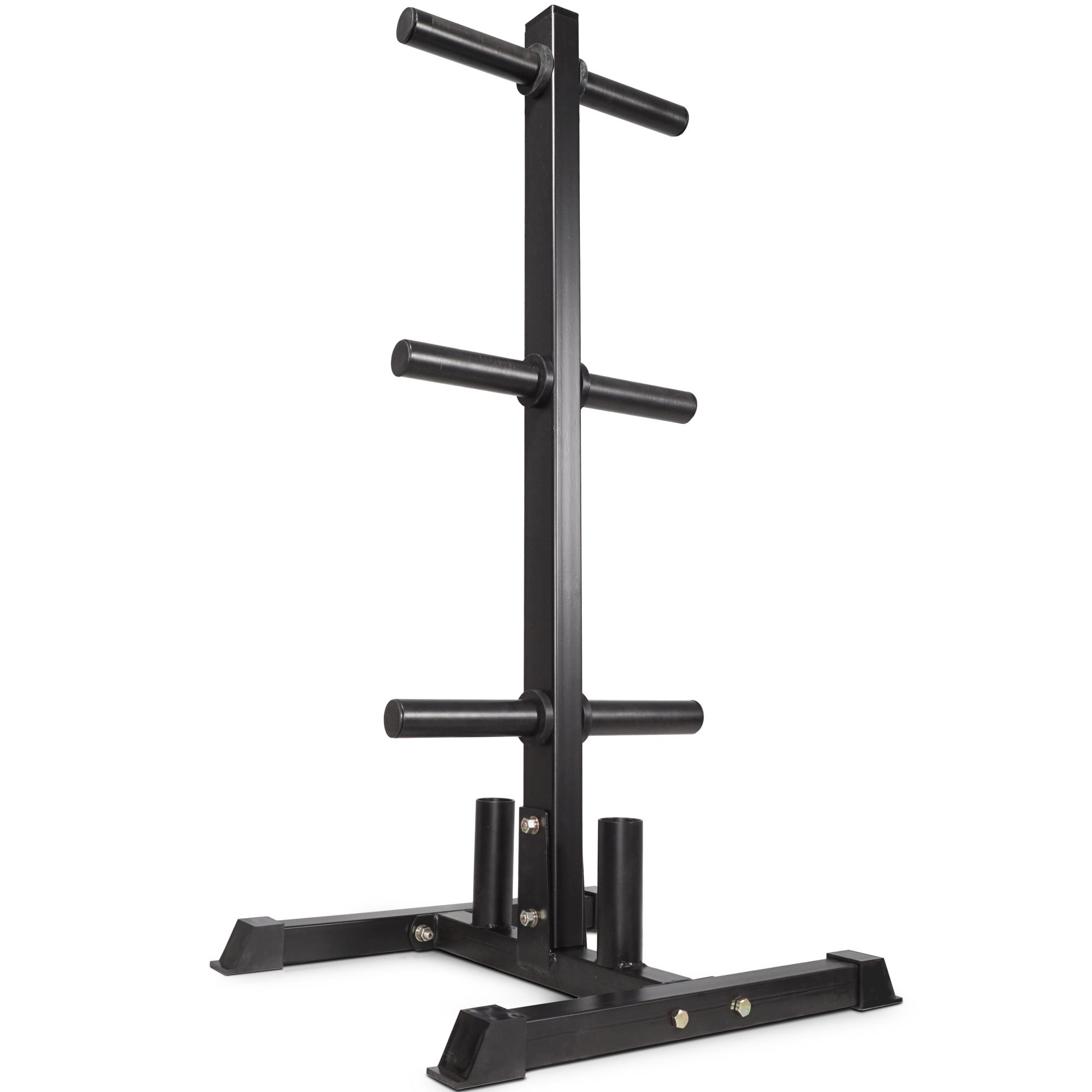 Titan Fitness Olympic 2'' Weight Plate Rack Tree & Barbell Holder Organizer Stand