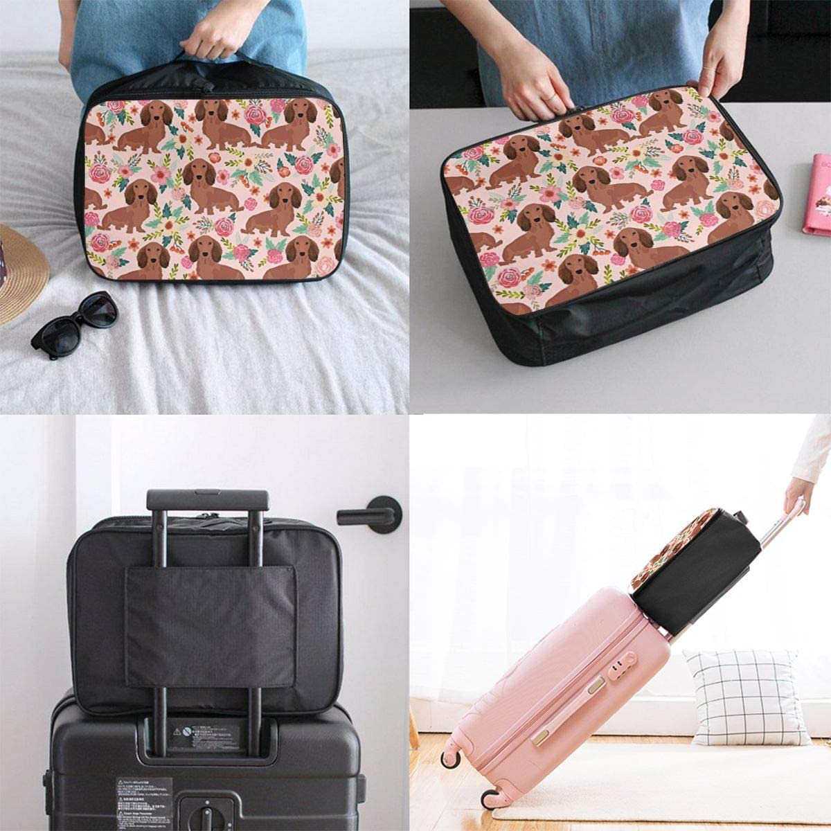 Dachshund Pattern Travel Carry-on Luggage Weekender Bag Overnight Tote Flight Duffel In Trolley Handle