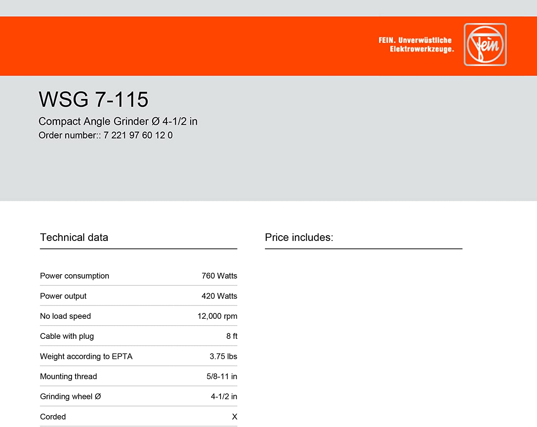 4-1//2 Fein WSG 7-115 Grinder