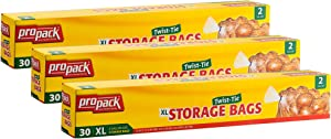 ProPack Disposable Plastic Storage Bags with Original Twist Tie, XL 2 Gallon Size, 90 Bags, Great for Home, Office, Vacation, Traveling, Sandwich, Fruits, Nuts, Cake, Cookies, Or Any Snacks (3 Packs)