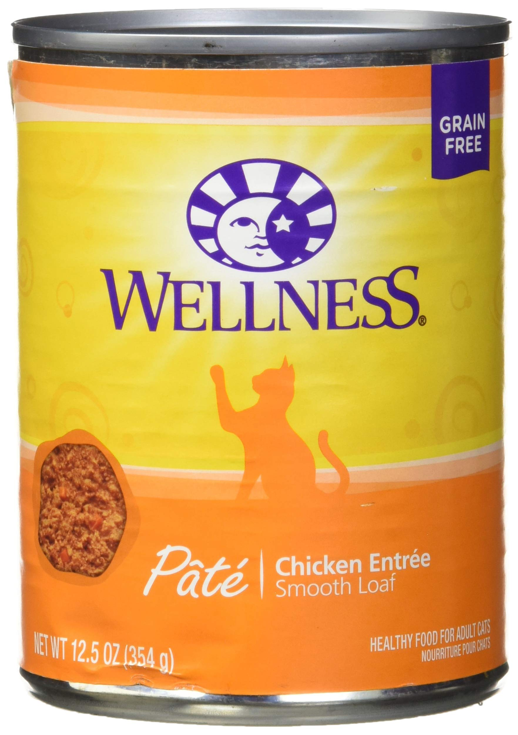 Wellness Natural Grain Free Wet Canned Cat Food, Chicken Pate, 12.5-Ounce Can (Pack Of 12) by Wellness Natural Pet Food
