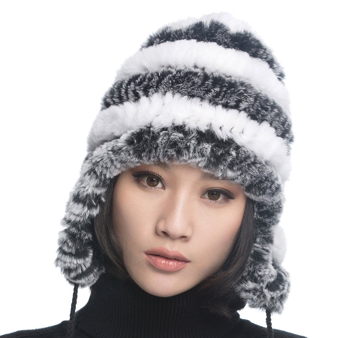 URSFUR Women's Rex Rabbit Fur Hats Winter Ear Cap Flexible Multicolor (Grey & White)