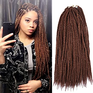 Senegalese Twist Crochet Braids Hair styles 2S Pretwist Box Braid Freetress  Crochet Hair Extensions 18 Inch 90 Strands 201 Grams/Pack Brown Color(18