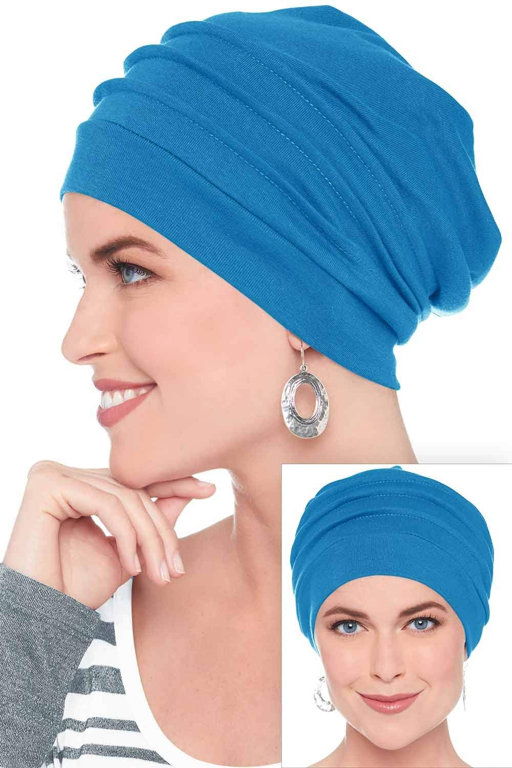 Headcovers Unlimited 100% Cotton Slouchy Snood Caps for Women with Chemo Cancer Hair Loss Azure