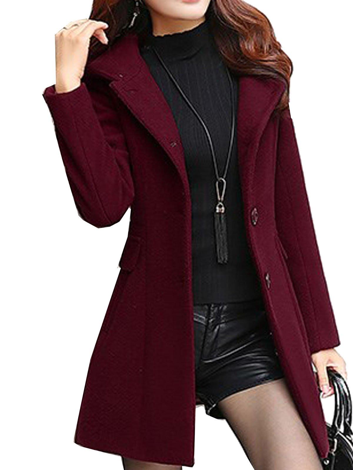 S&S Women's Sweet Heart Solid Splicing Lapel Double Breasted Side Pocket Wool Pea Coat