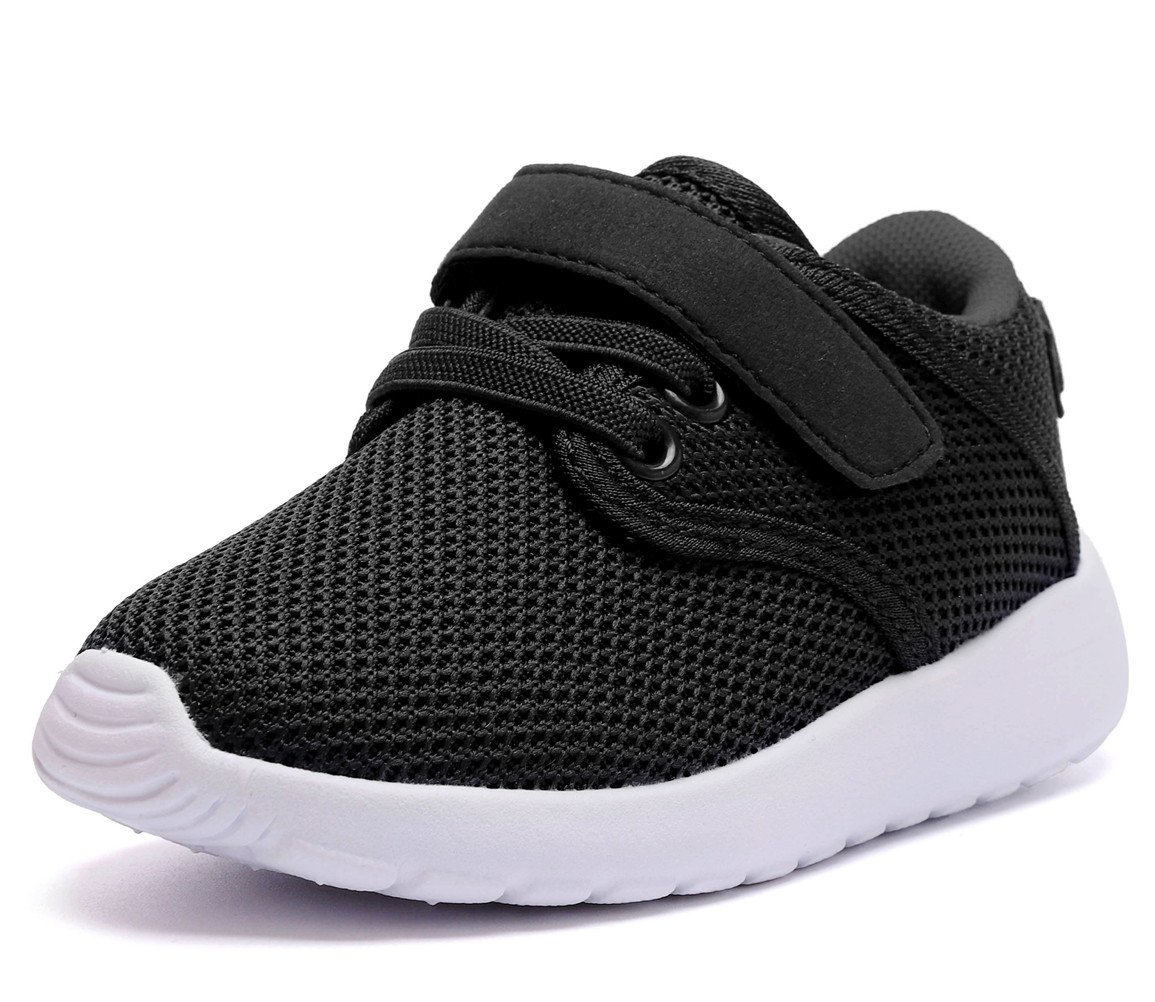 DADAWEN Boy's Girl's Lightweight Sneakers Cute Strap Athletic Running Shoes Black US Size 11 M Little Kid