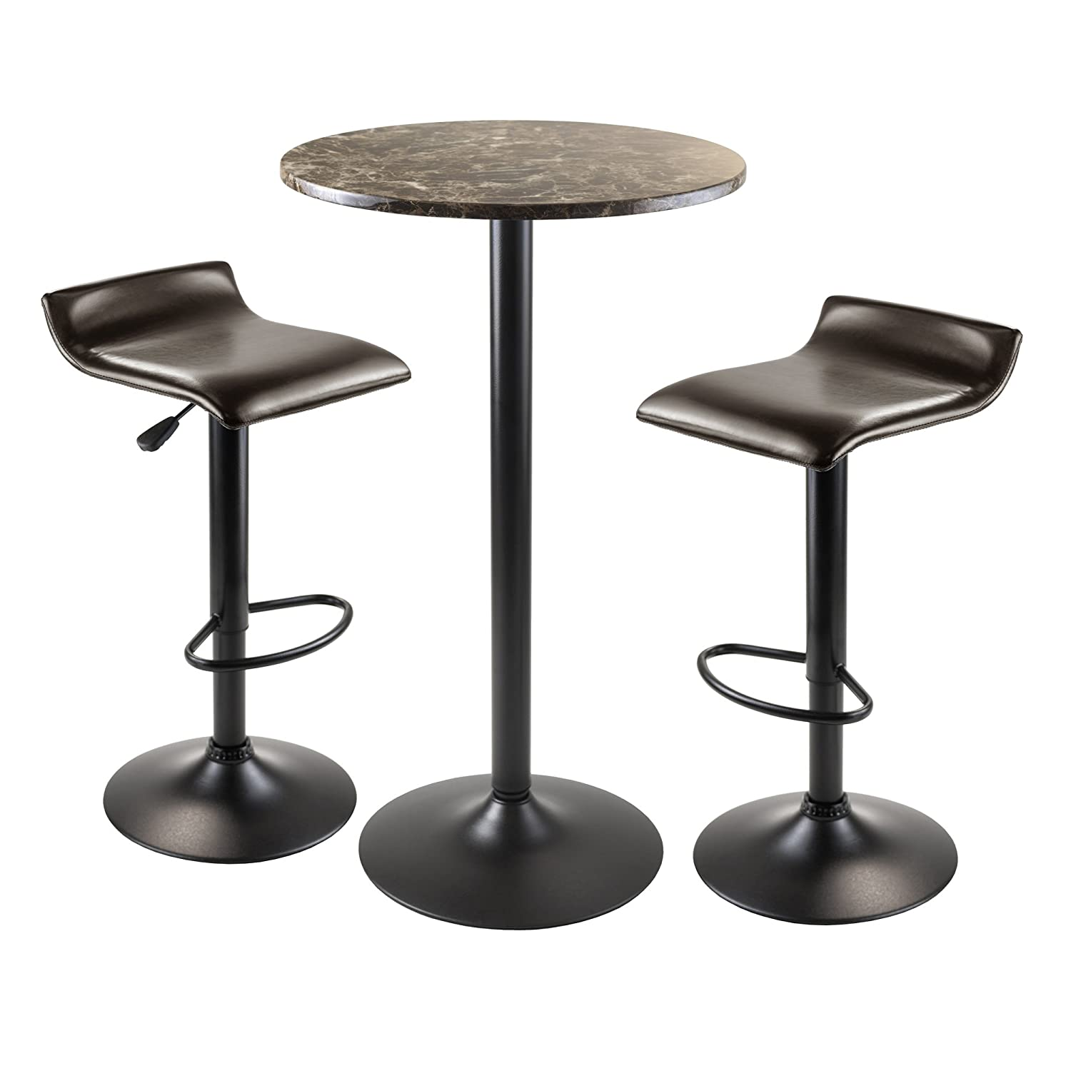 Winsome Wood Cora 3-Piece Round Pub Table with 2 Swivel Stool Set 76383