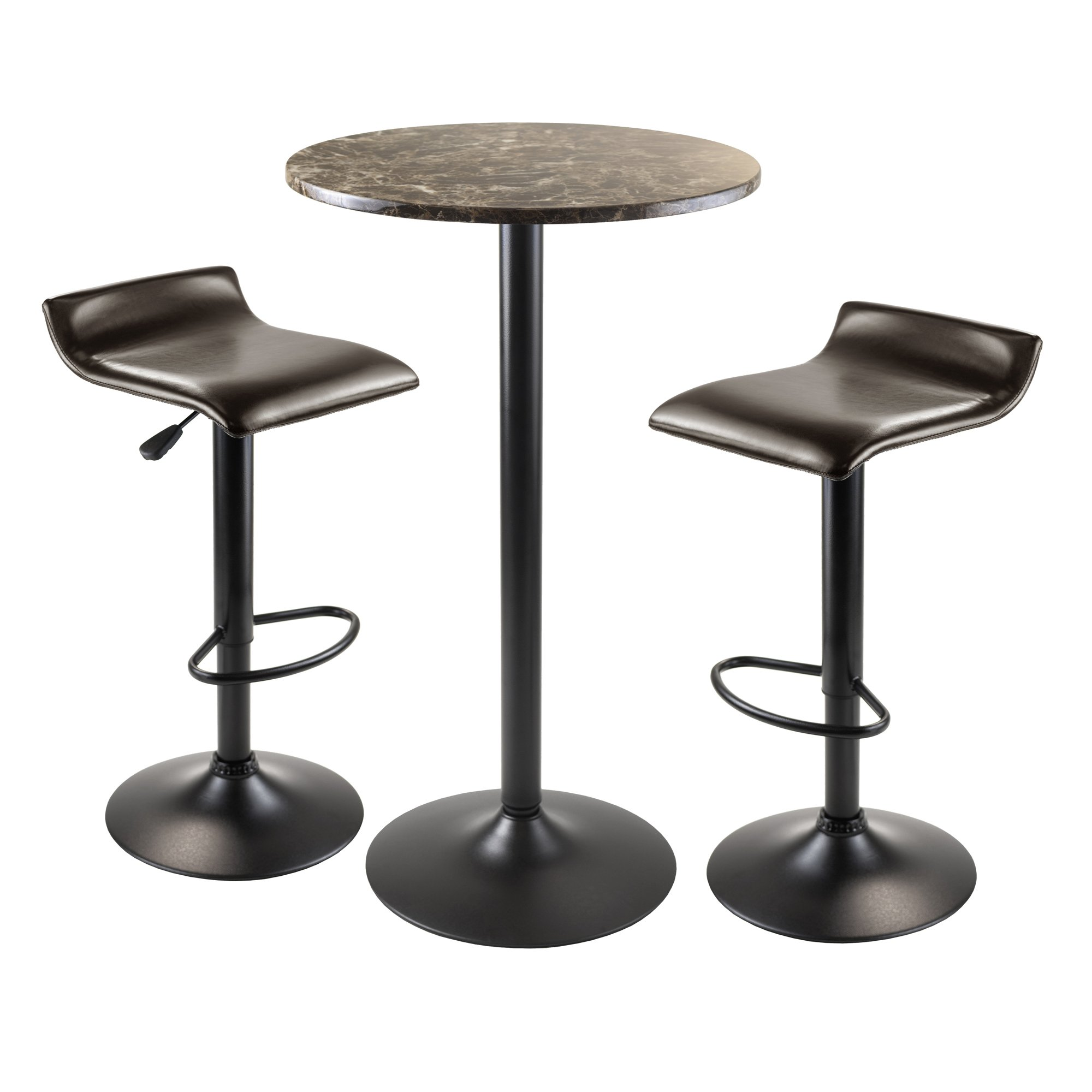 Winsome Wood Cora 3-Piece Round Pub Table with 2 Swivel Stool Set by Winsome Wood