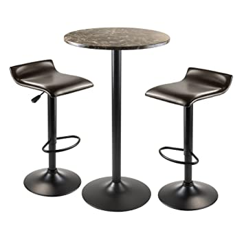 winsome wood cora 3piece round pub table with 2 swivel stool set
