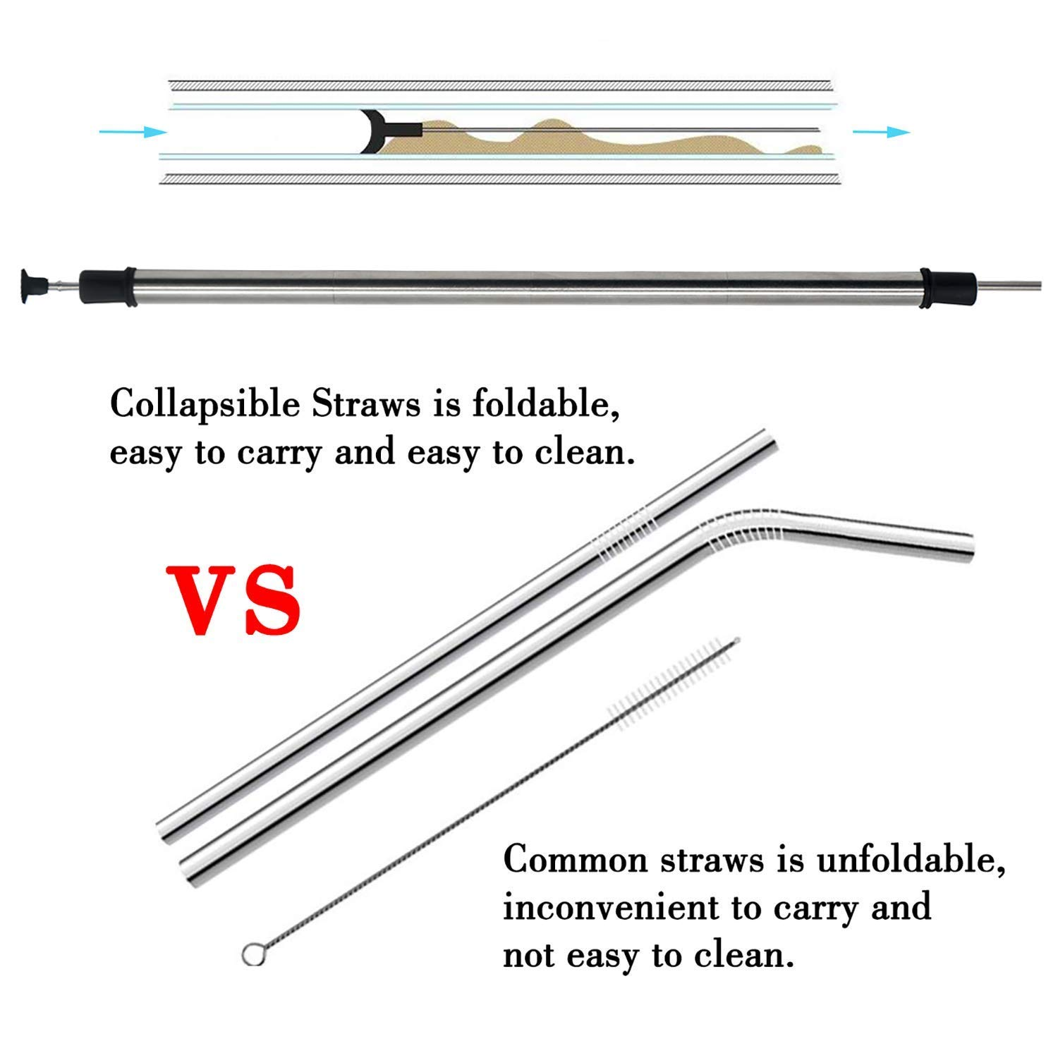 2 Pack Collapsible Reusable Straw, Gocheer Stainless Steel and Food-Grade Silicone Portable Set, with Hard Case Holder and Cleaning Brush, for Party, Travel, Household, Outdoor, etc. (Pink&Blue)