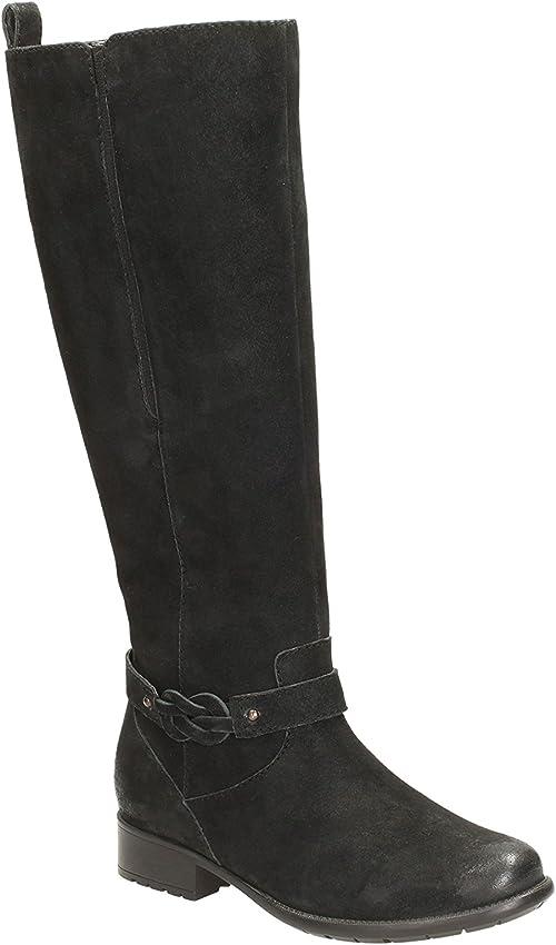 Enfadarse fluctuar Ligeramente  Clarks Ladies Plaza Market Black Knee High Boots Size 8: Amazon.co.uk:  Shoes & Bags