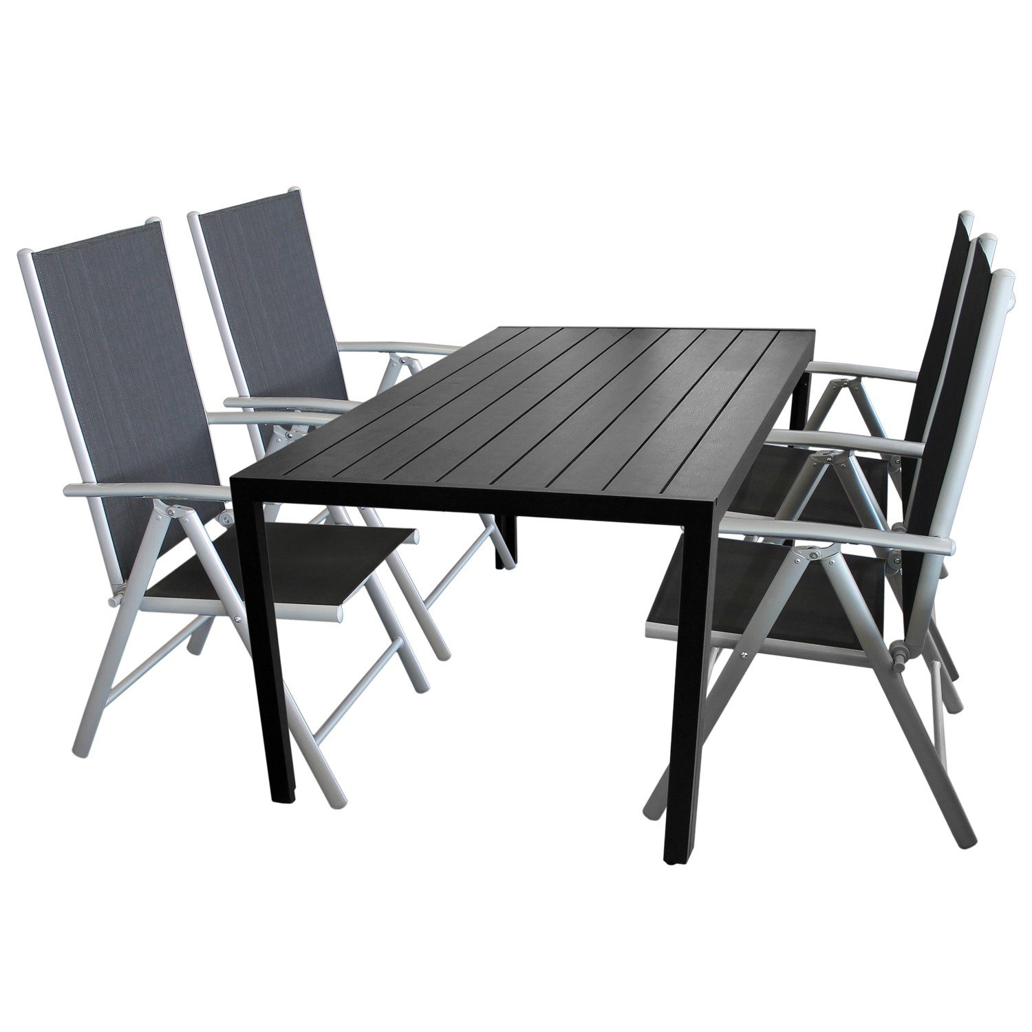5tlg terrassenm bel set sitzgruppe 4x hochlehner klappstuhl pulverbeschichtet. Black Bedroom Furniture Sets. Home Design Ideas