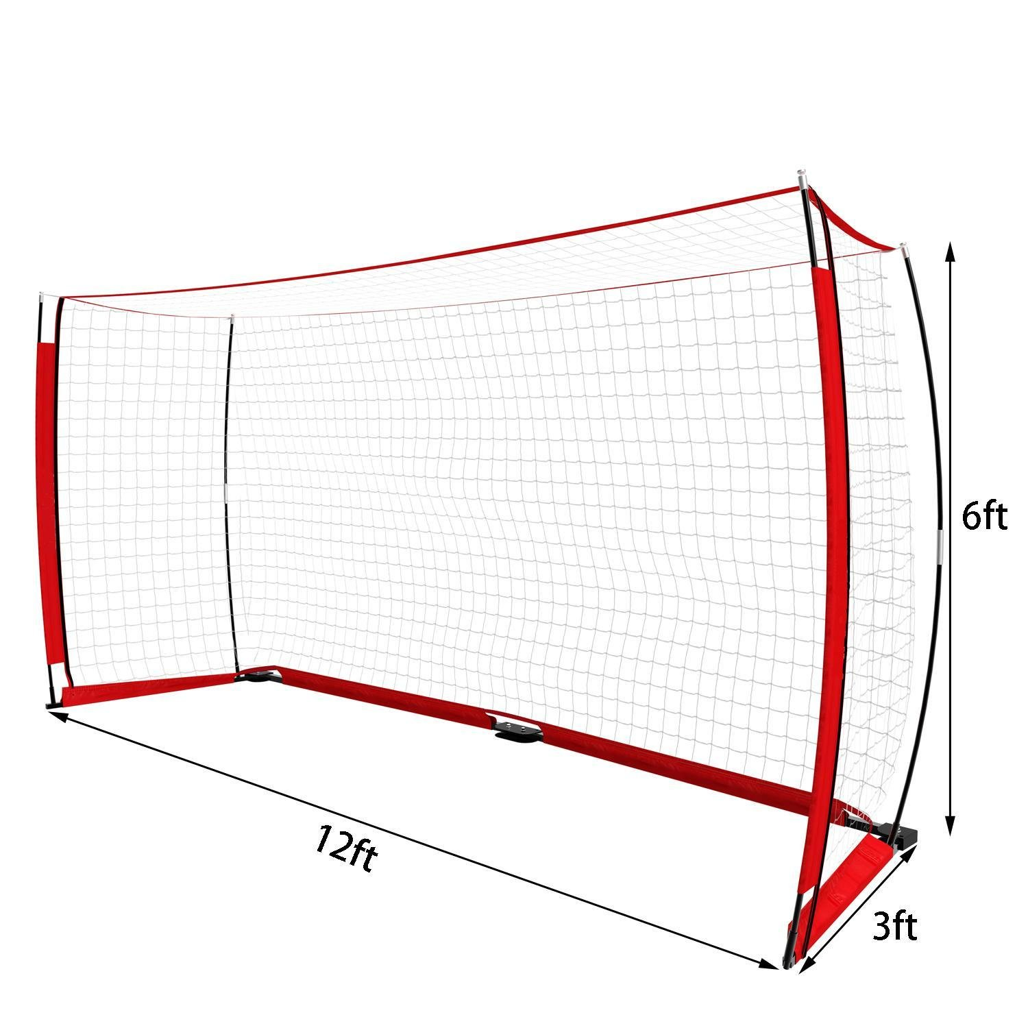 PEATAO Portable Soccer Goal Net with Bow Frame and Carry Bag 12 x 6ft