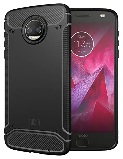 Moto Z2 Force Case, TUDIA Carbon Fiber Design Lightweight [TAMM] TPU Bumper Shock Absorption Cover for Motorola Moto Z Force (2nd Generation), Moto Z2 ...