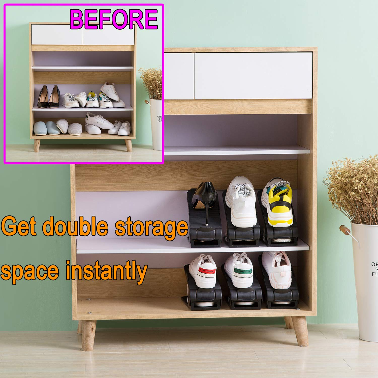 Better Stability Shoe Organizer with More Stable Base 4-Levels Adjustable Shoe Organizer 10 Piece Set Shoe Slots Organizer Space Saver for Closet