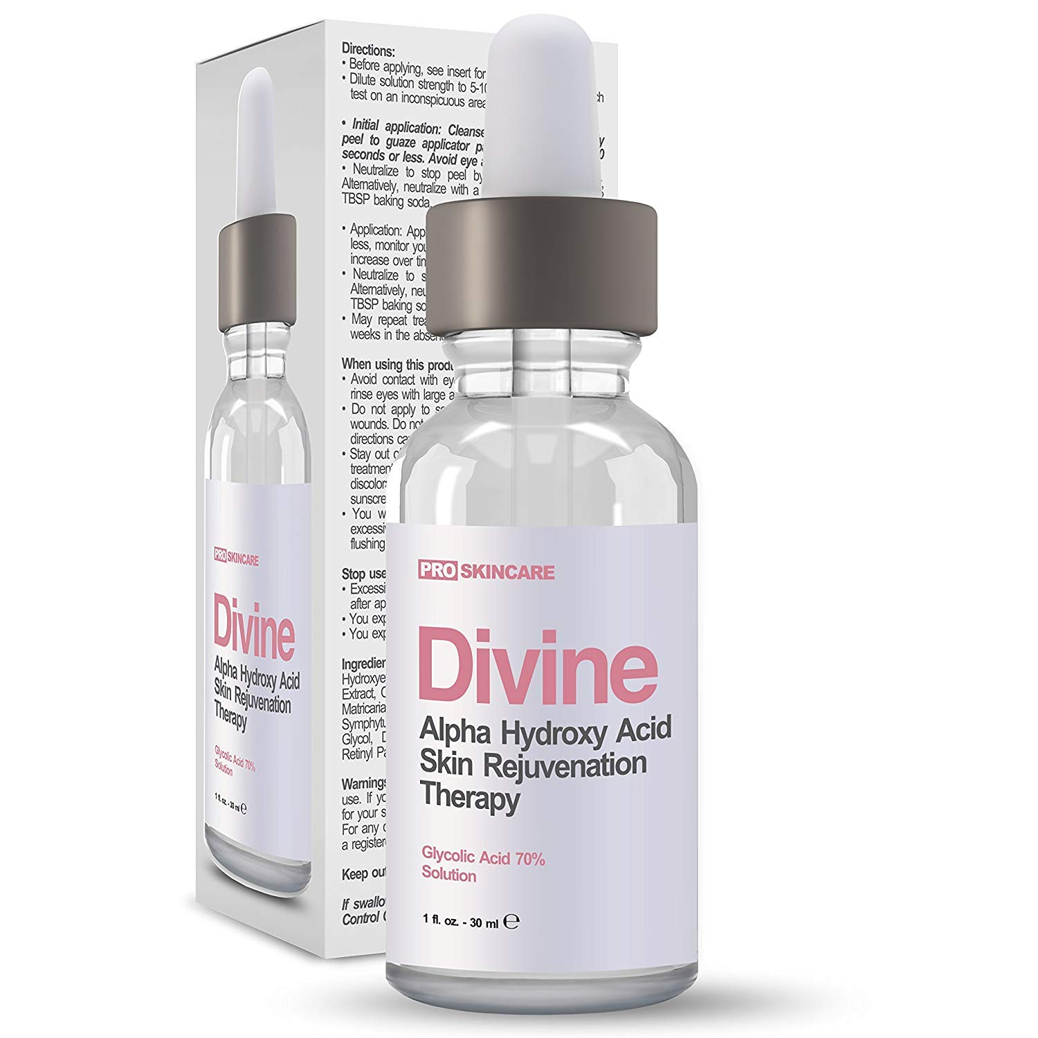 Glycolic Acid 70% Professional Chemical Peel - Intense Alpha Hydroxy Acid Skin Peel For Acne Scarring, Wrinkles, Fine Lines and Brown Spots. 1 fl oz by DIVINE DERRIERE