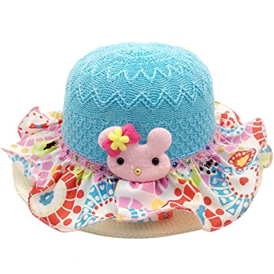 ARAUS Straw Sun Hat Infant Baby Girl Summer Lace Floral Knit Beach Wide Brim Cap for 2-5T
