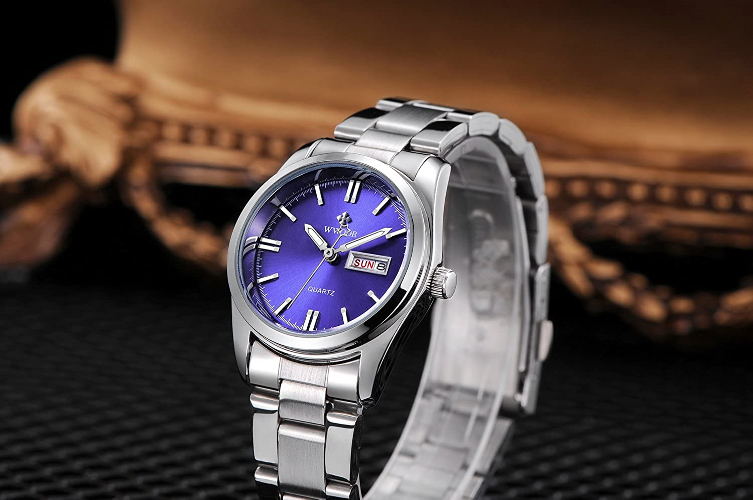 Amazon.com: Women Date Day Clock Female Stainless Steel Watch Ladies Fashion Casual Wrist Watches Blue: Watches