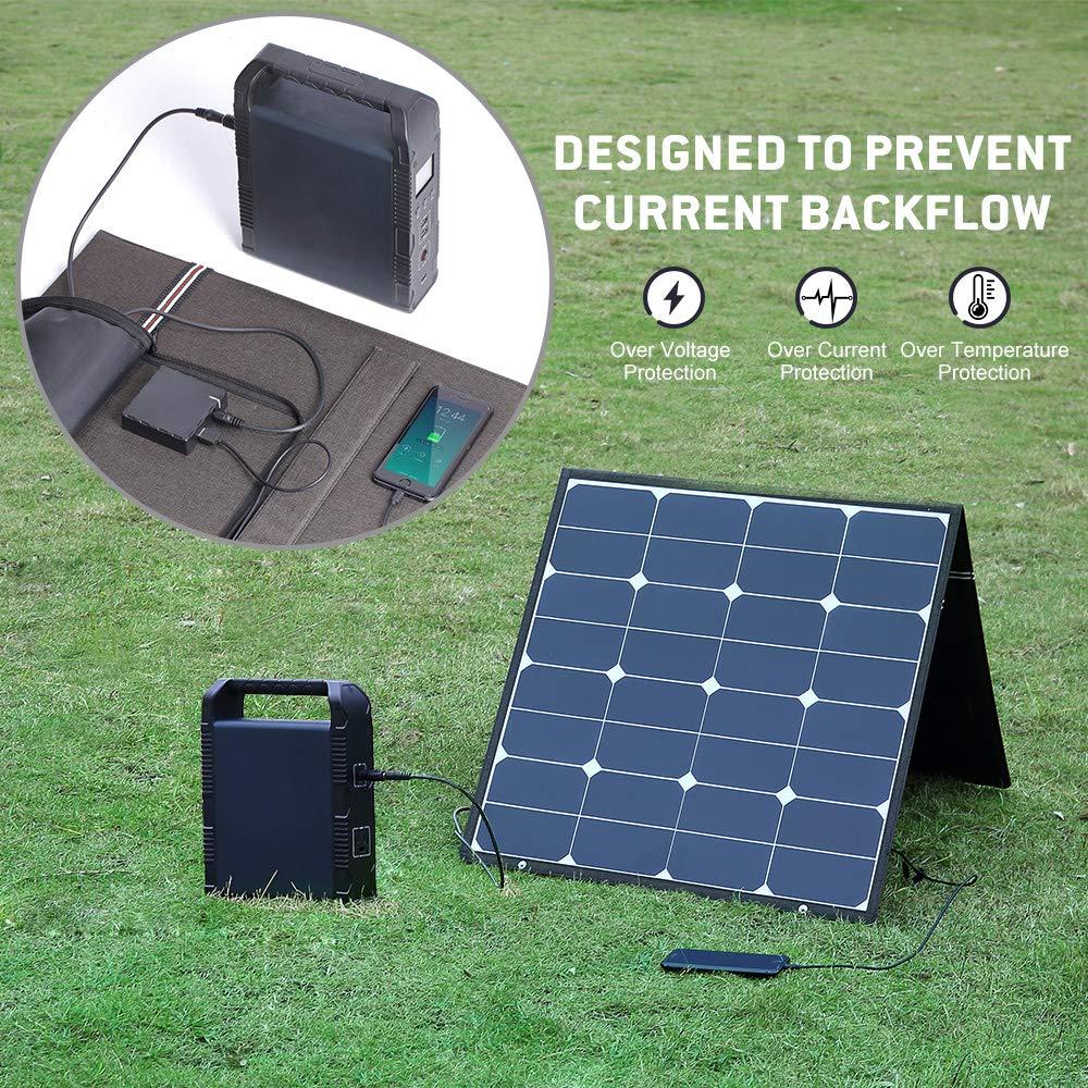 BougeRV 100 Watt 18V 12V Solar Panel SunPower Cell Solar Charger Foldable Portable Dual Output (5V/2A USB + 18V/5A DC), 10 Laptops Connectors Suitable for Smartphones, Tablet, Generator, RV, Boat by BougeRV (Image #4)