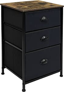 Sorbus Nightstand with 3 Drawers - Bedside Furniture & Accent Bedroom End Table, Chest Storage Organizer Dresser for Home, Accessories, Office, College Dorm, Steel Frame, Easy Pull Fabric Bins