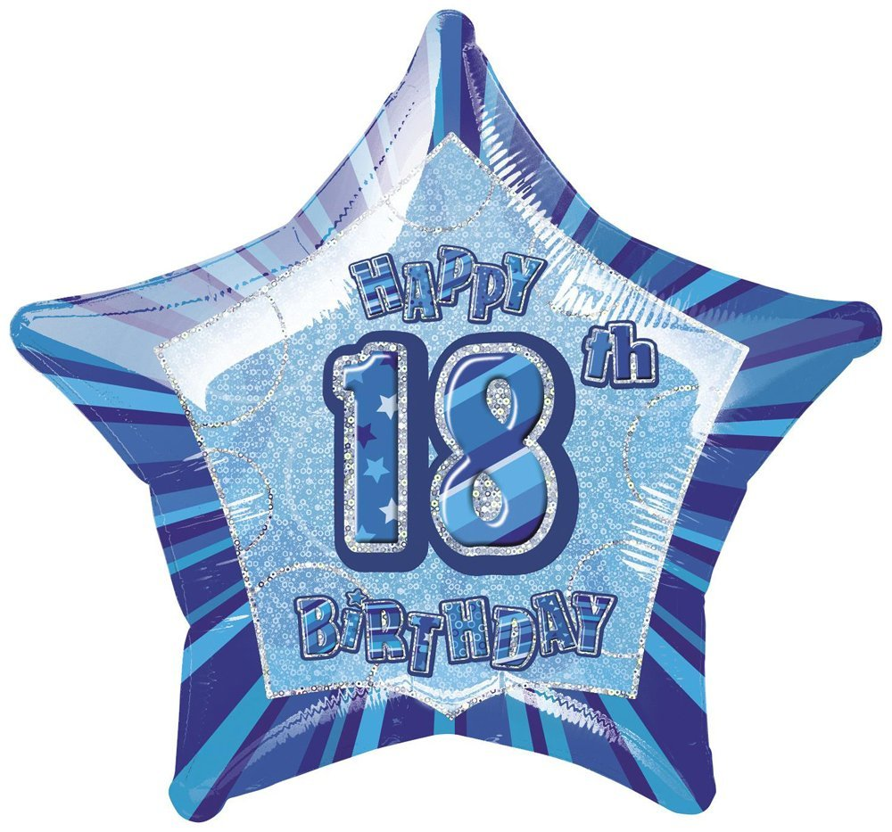 Unique Party 92141-9ft Foil Glitz Blue Happy 1st Birthday Bunting Flags
