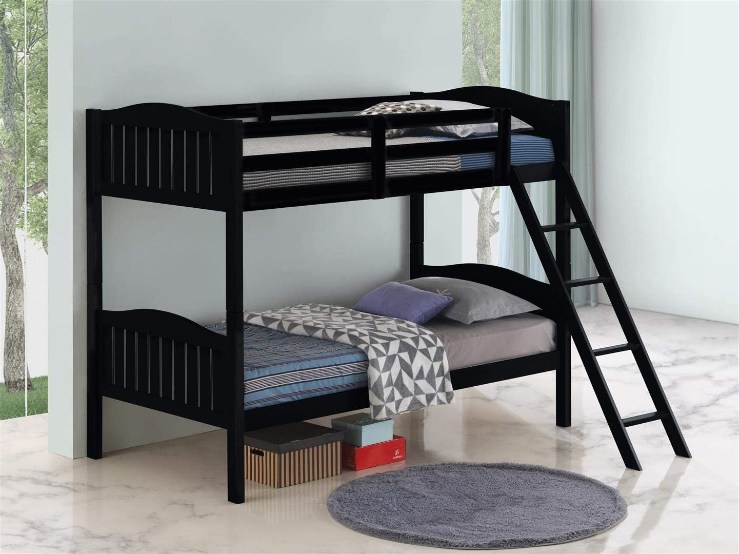 Coaster Home Furnishings Pauline Solid Wood Twin Over Twin Bunk Bed, Black