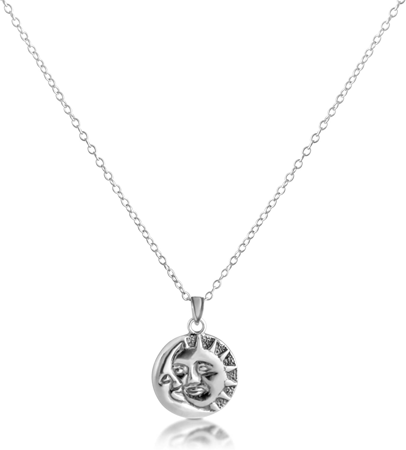 Azaggi 925 Sterling Silver Pendant Necklace Sun and Crescent Moon Faces Celestial Symbols Day /& Nigth Sky on the Earth Charm Pendant Necklace .This Unisex 925 Necklace is the Perfect Jewelry Gift