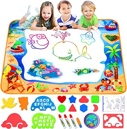 HISTOYE Aqua Magic Water Doodle Mat for Kids Large 40 X 32 Inch Water Drawing Mat for Toddlers Painting Coloring Mat Pad with Pens Learning Educational Toys for 3 4 5 6 7 8 Year Old Boys Girls Gifts