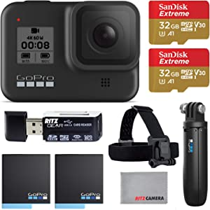 GoPro Hero8 Black Action Camera with GoPro Holiday Accessory Bundle - Two 32gb U3 Memory Cards, Shorty Grip, Head Strap, and 2 Rechargeable Batteries